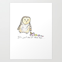 Owl, ice cream, pen and ink, watercolor Art Print by Lindsay Gail