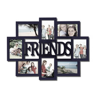 "Adeco Decorative Black Wood ""Friends"" Wall Hanging Collage Picture Photo Frame, 8 Openings, 4x6"""