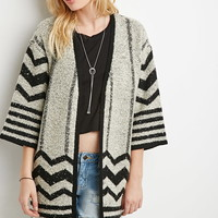 Chevron-Patterned Longline Cardigan