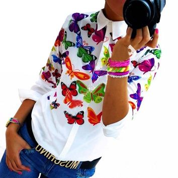 Floral/ Butterfly Printed Blouse