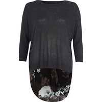 River Island Womens Dark grey floral woven back sweater