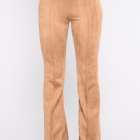 Victoria High Waisted Suede Pants - Tan