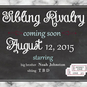 Pregnancy Announcement Chalkboard Sibling Rivalry Coming Soon Big Brother Big Sister customizable pregnancy announcement pregnancy reveal