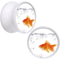 "9/16"" White Acrylic Bubbly Bowl Goldfish Saddle Plug Set 