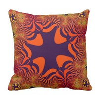 Orange Purple Fire Star Throw Pillow