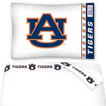 NCAA Auburn Tigers Bed Sheets Set College Football Bedding
