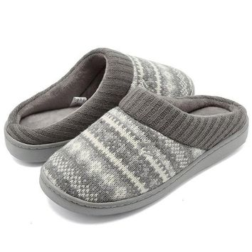 ESBON8C CIOR FANTINY Women's Memory Foam House Slippers Sweater Knit Embroidered Pattern and Ribbed Hand-Knit Collar