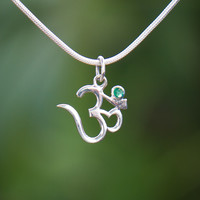 Silver and Emerald Om Necklace