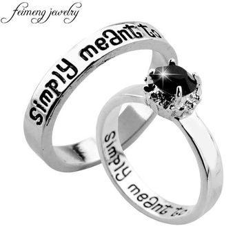 feimeng jewelry The Nightmare Before Christmas Ring Sally And Jack We are Simply Meant to Be Letter Ring For Women Charm Jewelry