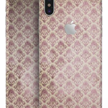 Micro Maroon and Faded Yellow Rococo Pattern - iPhone X Skin-Kit