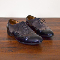 Vintage 90s Gravati for Neiman Marcus Brown Suede Oxford Black Patent Leather Oxford Two-Tone Oxford Brogue Spectator 90s Grunge Women 6