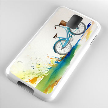 Watercolor bicycle colorful landscape Samsung Galaxy S5 Case