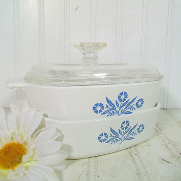 Vintage Corning Ware Casseroles Set of 2 with Pyrex Glass Lid - Retro Blue CornFlower Pattern Collection - One Quart Bowls Different Eras