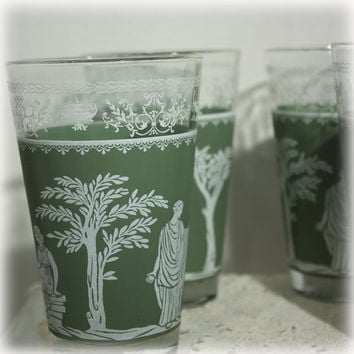 Set of 4 Jeannette Glass Hellenic Green Tumblers Large Water or Beer Glass