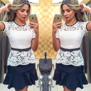 Casual New Women White Patchwork Lace Bow Peplum Round Neck Cute Mini Dress