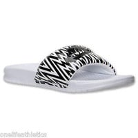 Nike Benassi JDI Slide Women's Sandal WHITE/BLACK New JDI Print