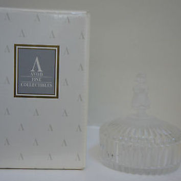 Avon M L Hummel Frosted Figurine Crystal Trinket Box 24% Lead Crystal 1993 NIB