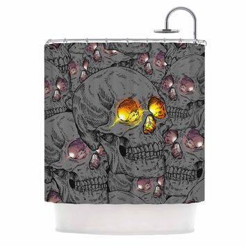 "BarmalisiRTB ""Skull Broken Eye"" Brown Coral Sports Digital Illustration Shower Curtain"