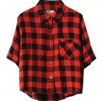 Checked Blouse in Color Block
