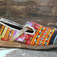Womens Shoes, Colorful Patchwork Hmong Vegan Loafers Casey