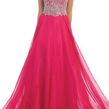 High Neck prom dress with  100-RQ7186 - CLOSEOUT