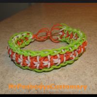 Liberty Twist Saint Patrick's Day Rainbow Loom Bracelet. Rubber Bands Jewelry Orange Green Men Accessory Handmade