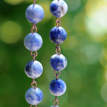 Traditional Rosary Catholic Sodalite Natural Stone Antique Copper Rustic Rosary Beads