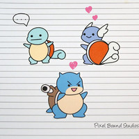 Squirtle/Wartortle/Blastoise Stickers and Magnets