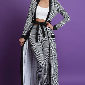 Plaid Waist-Tie Cardigan with High Waisted Pants Set | UrbanOG