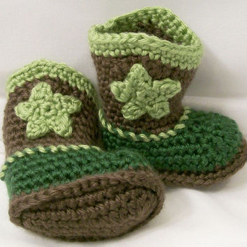 Baby Boys Crochet Cowboy Boots, Green and Brown, Western Boots, Baby  gift, Baby Shower Gift, Handmade, Made in the USA, #226