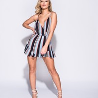 Blue Striped Wrap Front Playsuit