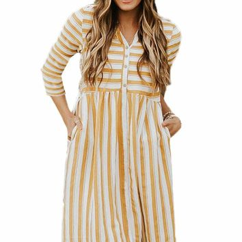 Light Orange Striped Casual Midi Shirt Dress