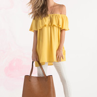 Gina Mustard Off the Shoulder Ruffle Top