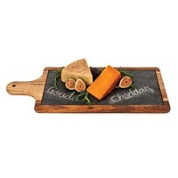 Rustic Farmhouse Slate and Wood Cheese Paddle
