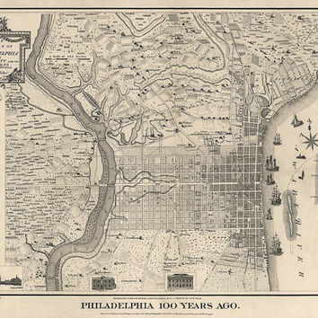 Antique Map of Philadelphia in 1775 - Archival Reproduction