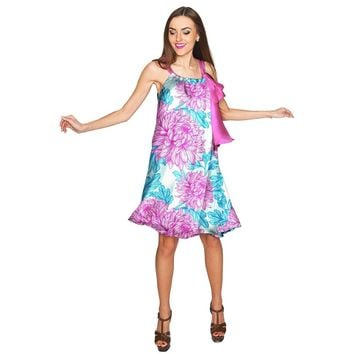 Floral Bliss Melody Swing Halter Chiffon Dress - Women