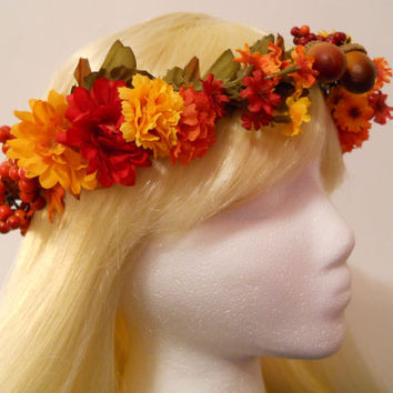 Flower Crown, Head Wreath, Weddings, Flower Girl, Bridal, Fall, Gold, Autumn, Halloween, Indian Summer, Floral, Rustic, India, Indian Tribal