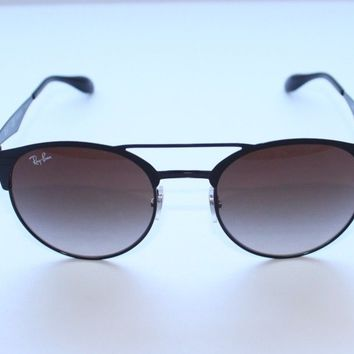 Ray Ban RB3545 186/9A Matte Black Round Sunglasses Gray 51 mm Lenses