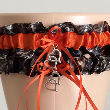Mossy Oak Orange Wedding Garter Set, Prom Garter Set