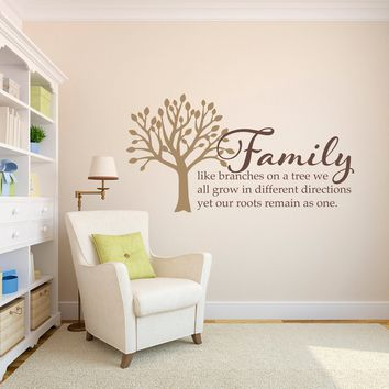 Family Wall Decal - Family like branches on a Tree Decal - Large 2 color design