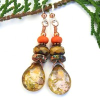 Metallic Teardrop Czech Glass Earrings, Plum Brass Tangerine Magnesite Handmade Jewelry