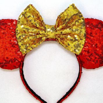 Princess Belle - Red Sequin Ears and Gold Bow