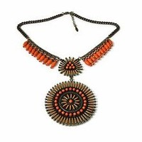Signed Latasia Medallion Necklace Orange Golden Brown Brass Boho Tribal Festival