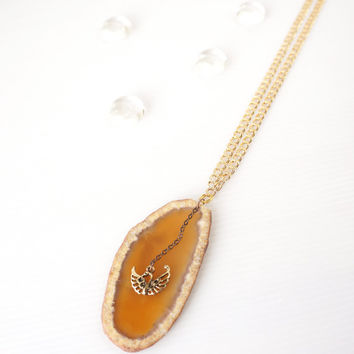 Mustard Yellow Agate Stone Slice Long Necklace with Gold Swan Charm and Gold Plated Chain, Elegant Piece Gemini Jewelry, Gift For Her
