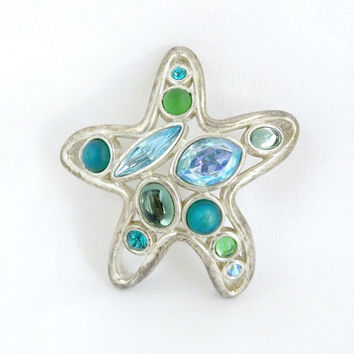 Vintage Rhinestone Starfish Pin, Monet Brooch, Starfish Brooch, Green, Aqua Rhinestone Pin, Silver Tone Starfish Pin