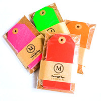 48pcs Neon Coloured Parcel Gift Tag / packaging / wrapping /old school  / handmade / gift wrap / old school gift tag/ Christmas /