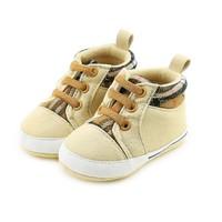 Newborn Baby First Walkers Baby boy Anti-skid Soft Bottom Step Canvas Shoes Cotton Lace-up New Children boys Shoes