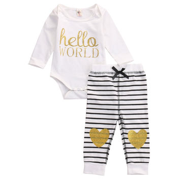 US STOCK Baby Cotton Romper Set Infant Boys Girls Letter Striped Clothing Sets Cute Infant Soft Long Sleeve Jumpsuit +Pants