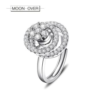 MOON OVER Super Shiny 925 Sterling Silver Rotating Ring Cubic Zirconia Best Friend Gift Open Rings For Women Creative Jewelry