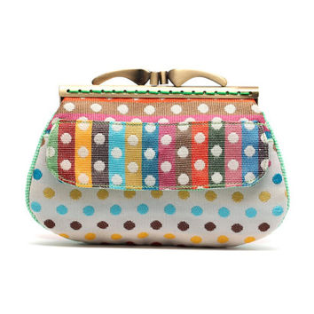 Rainbow dots clutch wallet